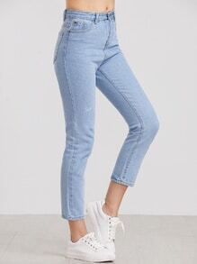 Pale Blue Letter Embroidered Ankle Jeans