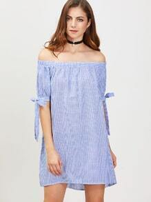 Blue And White Vertical Striped Off The Shoulder Tie Sleeve Dress