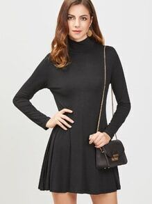 Black High Neck Long Sleeve A Line Dress