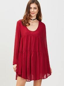 Burgundy Scoop Neck Long Sleeve Shift Dress