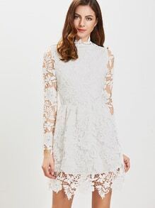 White Long Sleeve Zipper Back Lace Dress
