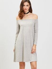 Grey Off The Shoulder Long Sleeve Tee Dress