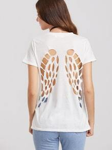 White Caged Back Short Sleeve T-shirt