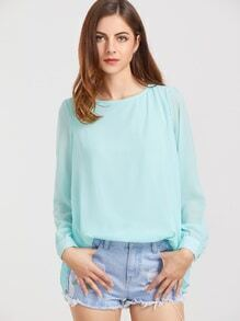 Turquoise Keyhole Black Pleated Blouse