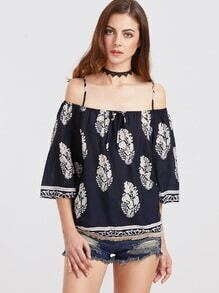 Navy Floral Cold Shoulder Tie Front Blouse