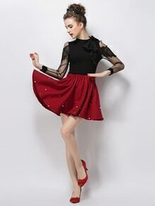 Burgundy Pearl Embellished Flare Skirt