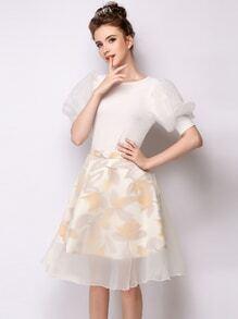 Print Layered Zipper Waist A Line Skirt