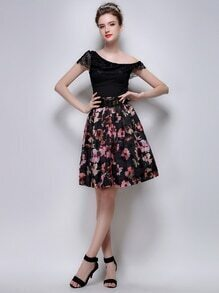 Colorful Florals Flare Skirt