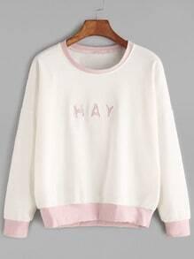Beige Contrast Trim Letter Print Drop Shoulder Sweatshirt