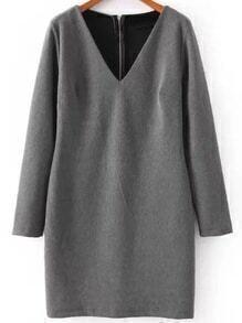 Grey V Neck Cutout Back Zipper Dress