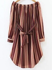 Multicolor Vertical Striped Off The Shoulder Dress With Tie