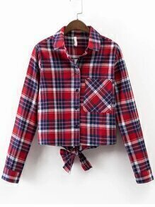 Red Plaid Bow Tie Blouse With Pocket