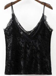 Black Lace Trim Velvet Cami Top