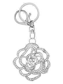 Silver Rhinestone Encrusted Cutout Rose Keychain