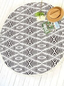 Black And White Printed Fringe Trim Round Beach Blanket