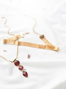 Gold Gemstone Necklace With Choker