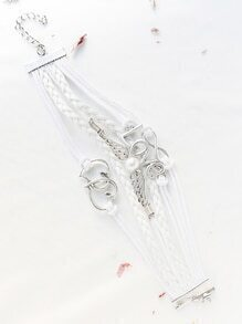 White Love Embellished Strappy Bracelet