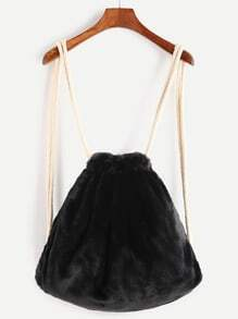 Black Rope Strap Faux Fur Bucket Backpack