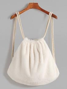 Beige Rope Strap Faux Fur Bucket Backpack