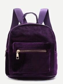 Purple Zipper Detail Velvet Backpack
