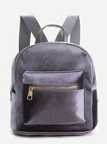 Grey Zipper Detail Velvet Backpack