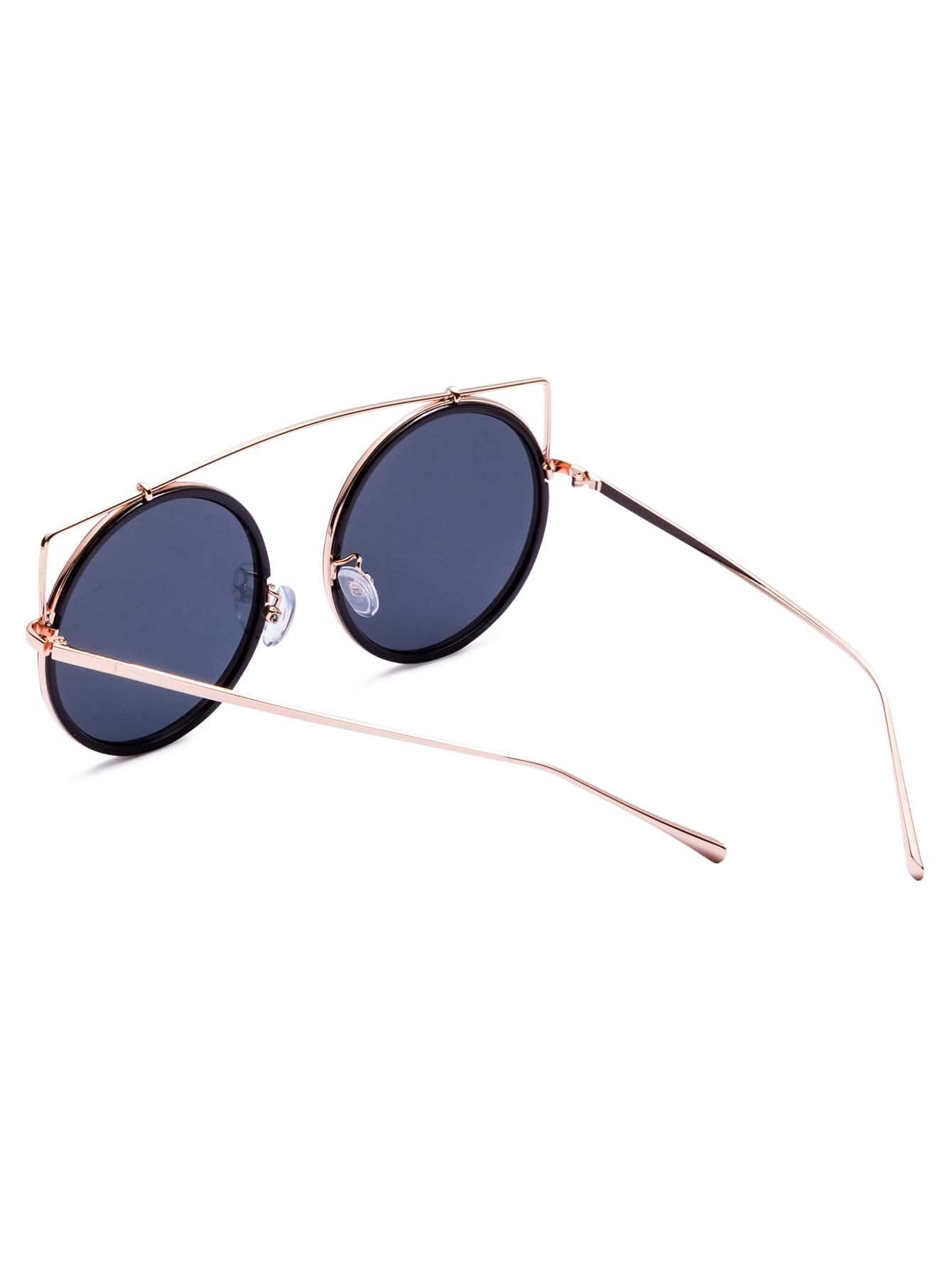 lunettes de soleil en or gris lunette ronde french romwe. Black Bedroom Furniture Sets. Home Design Ideas