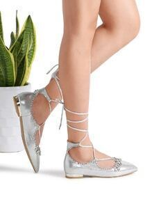 Silver Rhinestone Detail Pointed Toe Lace Up Flats