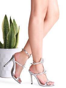 Silver Rivet Studded High Heeled Sandals