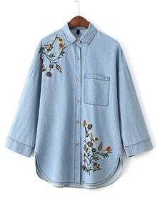 Blue Flower Embroidery Denim Blouse With Pocket