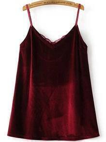 Burgundy Contrast Lace Velvet Cami Dress