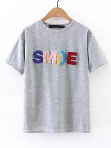 Grey Letter Embellished Short Sleeve T-shirt
