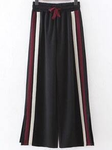 Black Striped Slit Side Wide Leg Pants
