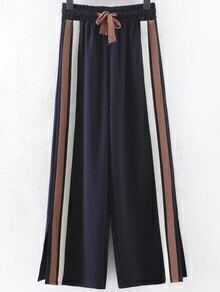 Navy Striped Slit Side Wide Leg Pants