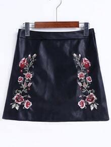 Black Flower Embroidery A Line PU Skirt