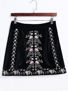 Black Flower Embroidery A Line Velvet Skirt