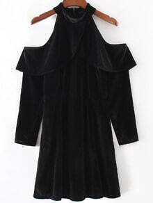 Black Open Shoulder Zipper Back Velvet Dress