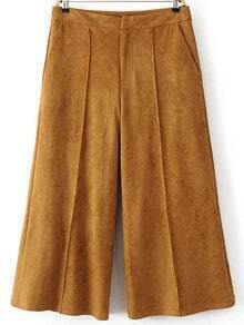 Khaki Wide Leg Suede Pants