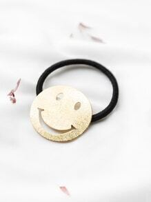 Gold Cutout Smiley Face Hair Tie