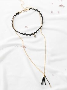 Black Crystal And Tassel Charm Layered Choker