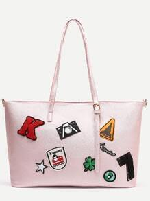 Pink Faux Leather Patch Detail Tote Bag