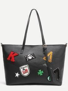 Black Faux Leather Patch Detail Tote Bag