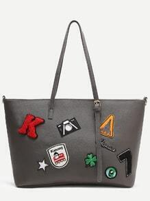 Grey Faux Leather Patch Detail Tote Bag