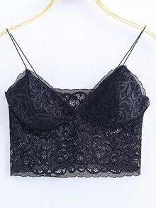 Black Lace Cami Crop Top