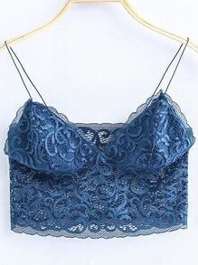 Blue Lace Cami Crop Top