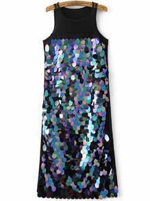 Black Mesh Detail Sleeveless Sequin Dress