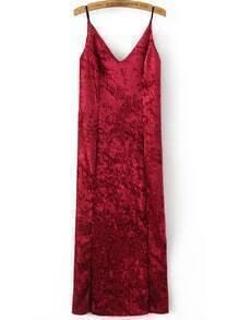 Red Slit Velvet Midi Cami Dress