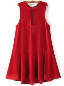 Red Keyhole Zipper Back Drop Waist Velvet Dress