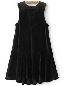 Black Keyhole Zipper Back Drop Waist Velvet Dress