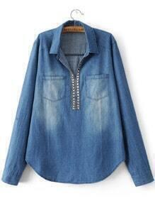 Blue Embellished V Neck Denim Blouse With Pocket