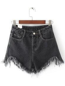 Shorts bajo desflecado en denim - negro